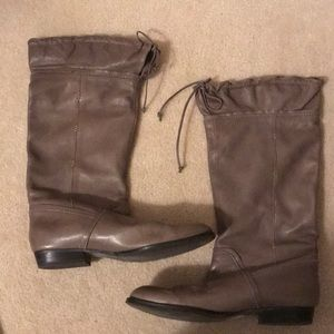 b.makowsky Taupe Slouch Leather Boots